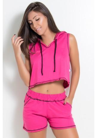 Blusa de Moletim com Capuz e Cadarço (Rosa Pink)   Ref: KS-F1831-001