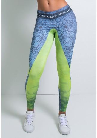 Legging Azul e Verde com Círculos Pretos Sublimada | Ref: KS-F1986-001
