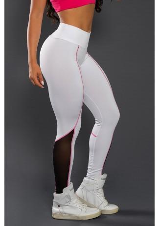 Calça Lisa com Tule e Ponto de Cobertura (Branco / Preto / Rosa Pink)   Ref: KS-F2136-001
