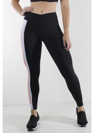 Calça Duas Cores com Cós em V e Silk (Preto / Branco) | Ref: KS-F2143-001
