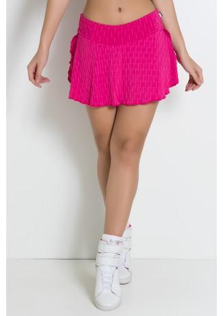 Short Saia Isabelle Tecido Bolha (Rosa Pink) | Ref: KS-F265-006