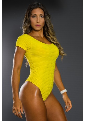 Body Costas Aberta Tecido Bolha (Amarelo) | Ref: KS-F268-005