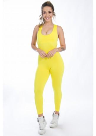 Macacão Liso Viviane (Amarelo) | Ref: KS-F275-001