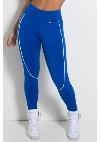 Legging Khloe com Vivo (Azul Royal / Branco) | Ref: KS-F463-004
