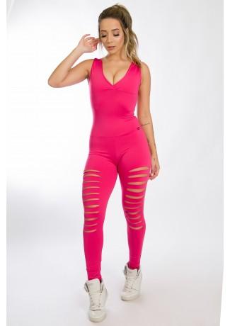Macacão Sibelle com Rasgos (Rosa Pink) | Ref: KS-F621-004