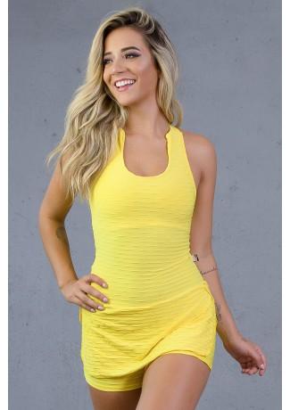 Macaquinho Saia Lily Tecido Bolha (Amarelo) | Ref: KS-F675-001