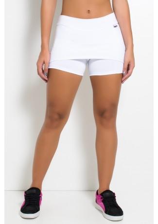 Short Saia Tapa Bumbum Liso (Branco) | Ref: KS-F71-001