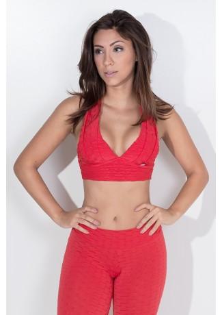 Top Cruzado nas Costas com Bojo Tecido Bolha (Vermelho) | Ref: KS-F843-011