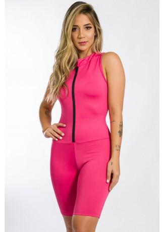 Macaquinho Fitness de Gola e Fecho Cores Lisas (Rosa Pink) | Ref: KS-F93-002