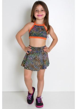 Conjunto Infantil Top + Short Saia (Ondulado Colorido 2 / Laranja) | Ref: KS-F986-003