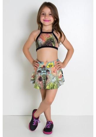 Conjunto Infantil Top + Short Saia (Escama Vermelha e Verde Água / Preto) | Ref: KS-F986-005