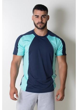 Camiseta Masculina de Microlight Duas Cores (Azul Marinho / Verde Água) | Ref: KS-H09-001