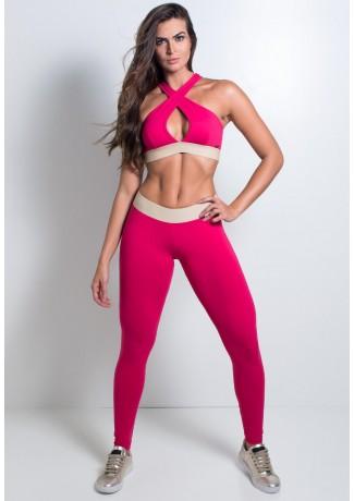 Calça Lisa com Cós de Elástico   Poliamida Excelente!   (Rosa Pink)   Ref: KS-PL28-001