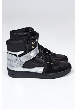 Sneaker Unissex Preto com Prata (Sola Preta) | Ref: KS-T35-001
