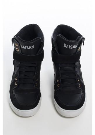 Sneaker Unissex Preto com Sola Branca | Ref: KS-T36-001