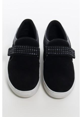 Tênis Mini Sneaker com Velcro (Nobuck Preto) | Ref: KS-T43-002