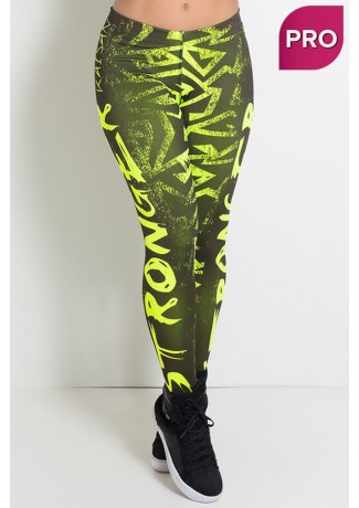 Legging Estampa Digital PRO (Stronger Amarelo Neon) | Ref: NTSP12-002