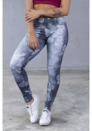 Legging Estampa Digital PRO (Jeans Roses) | Ref: NTSP31-001