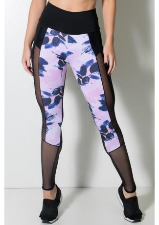 Calça Lisa com Detalhe Estampado e Tule (Preto / Rosa com Galhos e Folhas Pretas)   Ref: KS-F2141-001
