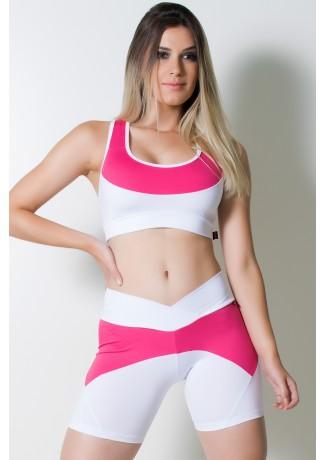 Conjunto Top + Bermuda Duas Cores (Branco / Rosa Pink) | Ref: KS-F931-002