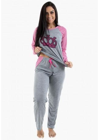 Pijama feminino longo 304 (Mescla com pink) CEZ-PA304-001