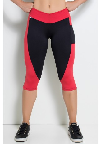 Calça Corsário  com Bolso (Preto / Vermelho) | Ref: KS-F02-004