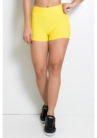 Short Tecido Bolha Com Babado (Amarelo) |Ref: KS-F354-006