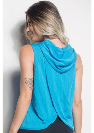 Camiseta Dry Fit Com Capuz E Transpassado Nas Costas (Azul Celeste)   Ref: CMT105-007/000/000