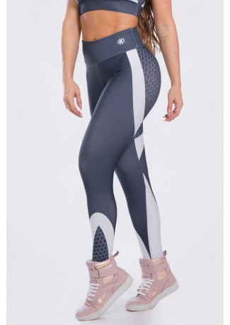 Calça Legging Sublimada Gray Honeycomb | Ref: K2473-A
