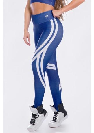 Calça Legging Estampa Digital Crayon Bleu | Ref: K2509-A