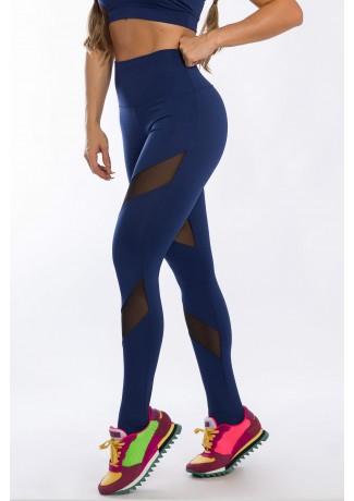 Calça Legging com Detalhe Tule Diagonal (Azul Marinho) | Ref: K2425-C
