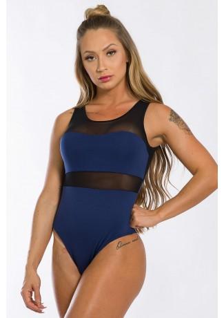 Body com Detalhe em Tule (Azul Marinho) | Ref: K2436-C