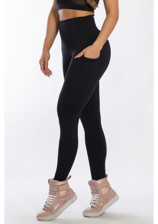 Calça Legging com Bolso Lateral (Preto) | Ref: K2424-A