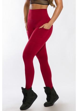 Calça Legging com Bolso Lateral (Vinho) | Ref: K2424-B