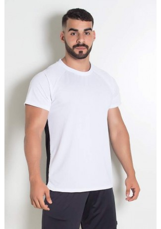Camiseta Masculina Dry Fit Duas Cores (Branco / Preto) | Ref: KS-H06-001