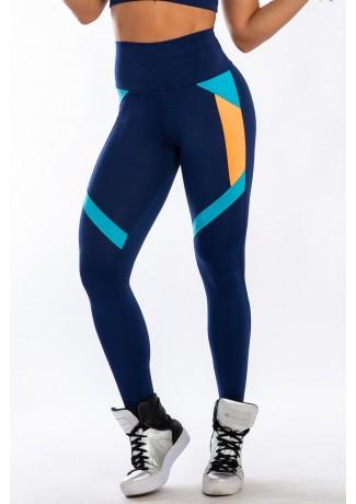Calça 3 Cores com Recortes (Azul Marinho / Azul Celeste / Laranja) | Ref: K2423-B