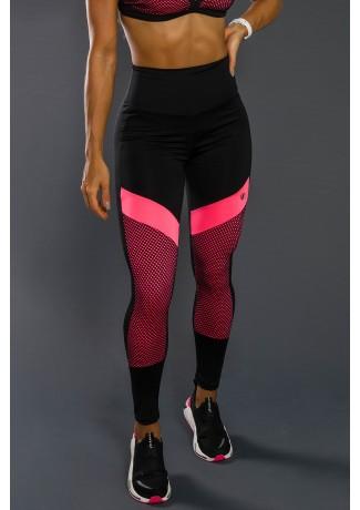 Calça Legging Com Recorte Neon E Tela (Rosa Neon / Preto) | Ref: K2557-B