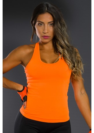 Camiseta Básica Sem Bojo (Laranja Neon)   Ref: K2558-A