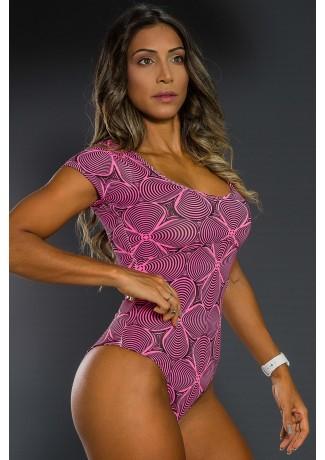 Body Estampado com Manguinha (Rosa com Ondulado Preto) | Ref: K2564-A