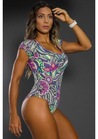 Body Estampado com Manguinha (Tribal Colorido com Flor Roxa) | Ref: K2564-C