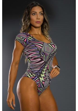 Body Estampado com Manguinha (Quadrados e Triângulos Roxo Rosa e Verde Limão) | Ref: K2564-E