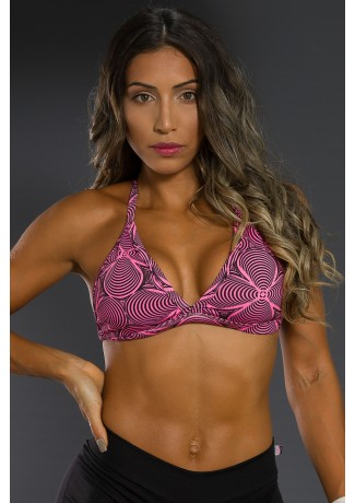 Top Fitness Estampado (Rosa com Ondulado Preto) | Ref: K2566-A