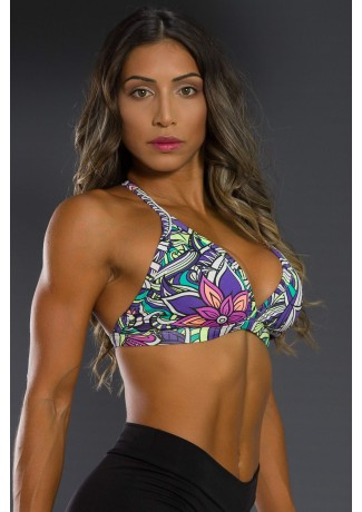Top Fitness Estampado (Tribal Colorido com Flor Roxa) | Ref: K2566-C