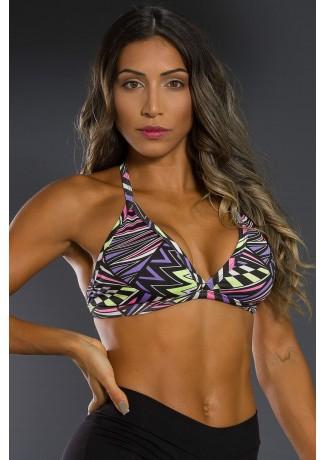 Top Fitness Estampado (Quadrados e Triângulos Roxo Rosa e Verde Limão) | Ref: K2566-E