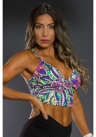 Cropped de Alcinha Estampado (Tribal Colorido com Flor Roxa) | Ref: K2567-C