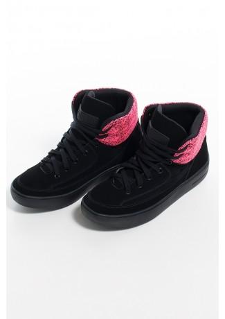 Tênis Sneaker Nobuck com Jacquard (Preto / Pink)   Ref: KS-T55