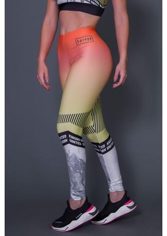 Calça Legging Com Cós de Elástico Embutido Yellow Black Stripes | Ref: K2667