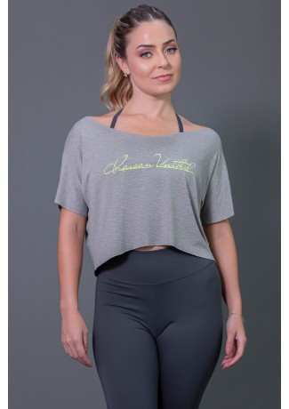 Cropped Fitness com Silk Assinatura (Mescla / Verde Fluor) | Ref: K2574-C