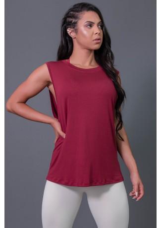 Camiseta Viscose Cavada com Silk (Vinho / Branco) | Ref: K2575-B