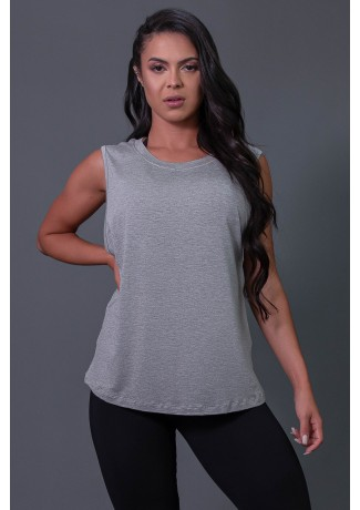 Camiseta Viscose Cavada com Silk (Mescla / Laranja Fluor) | Ref: K2575-C